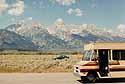 driving along the Grand Tetons